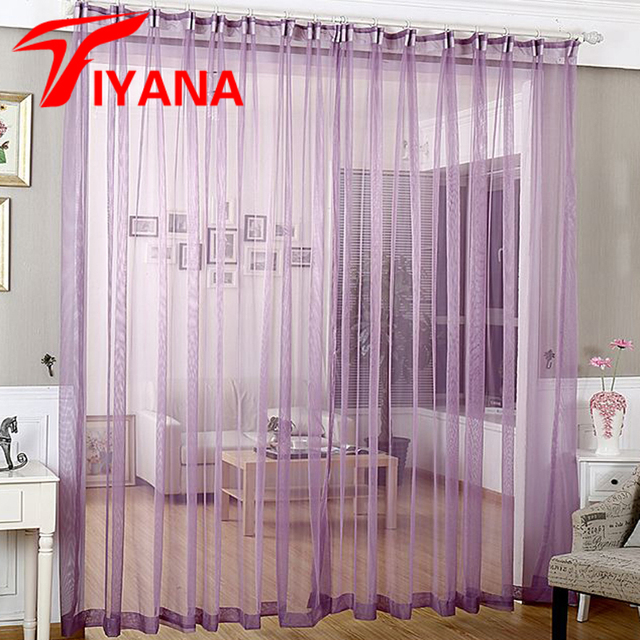 French Curtains Purple Sheer For Living Room Kitchen Curtain Tulle Window Treatments Decor Solid Color
