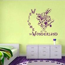 Cartoon animation rabbit Alice vinyl wall decal girl boy child bedroom kindergarten  art deco mural ER66