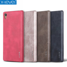 X-Level Vintage Phone Case For Sony Xperia Z5 / Z5 Premium Luxury PU Leather Back Case Cover