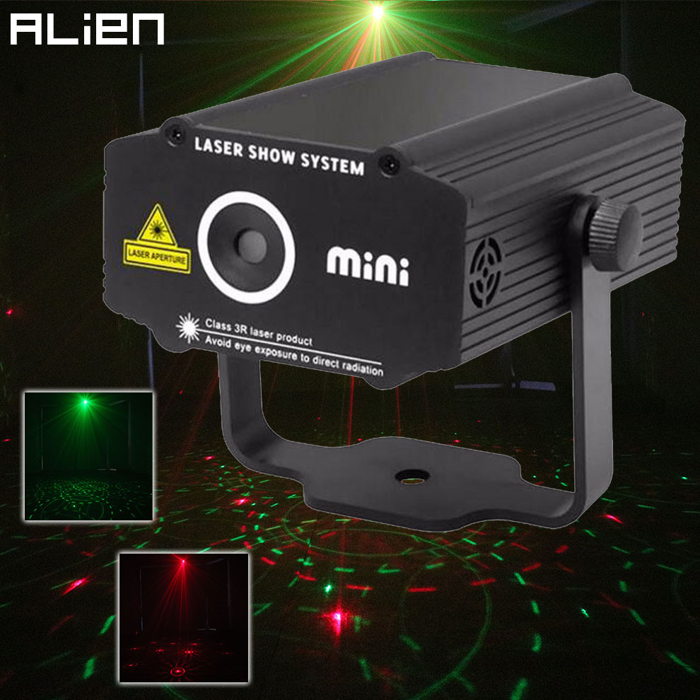 ALIEN Mini Red Green Laser Stage Lighting Effect Disco DJ Club Home Party Xmas Flower Laser Stage Lights US AU UK Plug