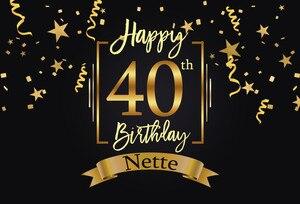 Image 2 - Sensfun Fondo para fiesta de cumpleaños de 40 cumpleaños, negro, dorado, pequeñas estrellas, cintas, fondos de fotografía personalizados, 7x5 pies de vinilo