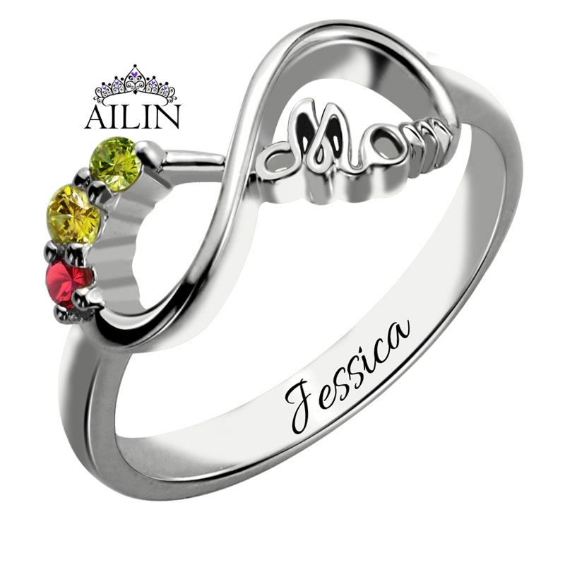 Wholesale Silver Infinity Ring with 3 Birthstones Mom s Ring Personalized Infinity Name Ring Birthstone Jewelry