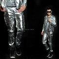 Moda normic calças prata rebite homem traje trajes cantor dancer desempenho estágio wear roupas show boate festa