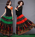 Vintage BOHO Hippie Printed Patchwork Maxi Long Skirt Egypt Printed Skirts womens Summer Casual Women Skirt faldas jupe saia