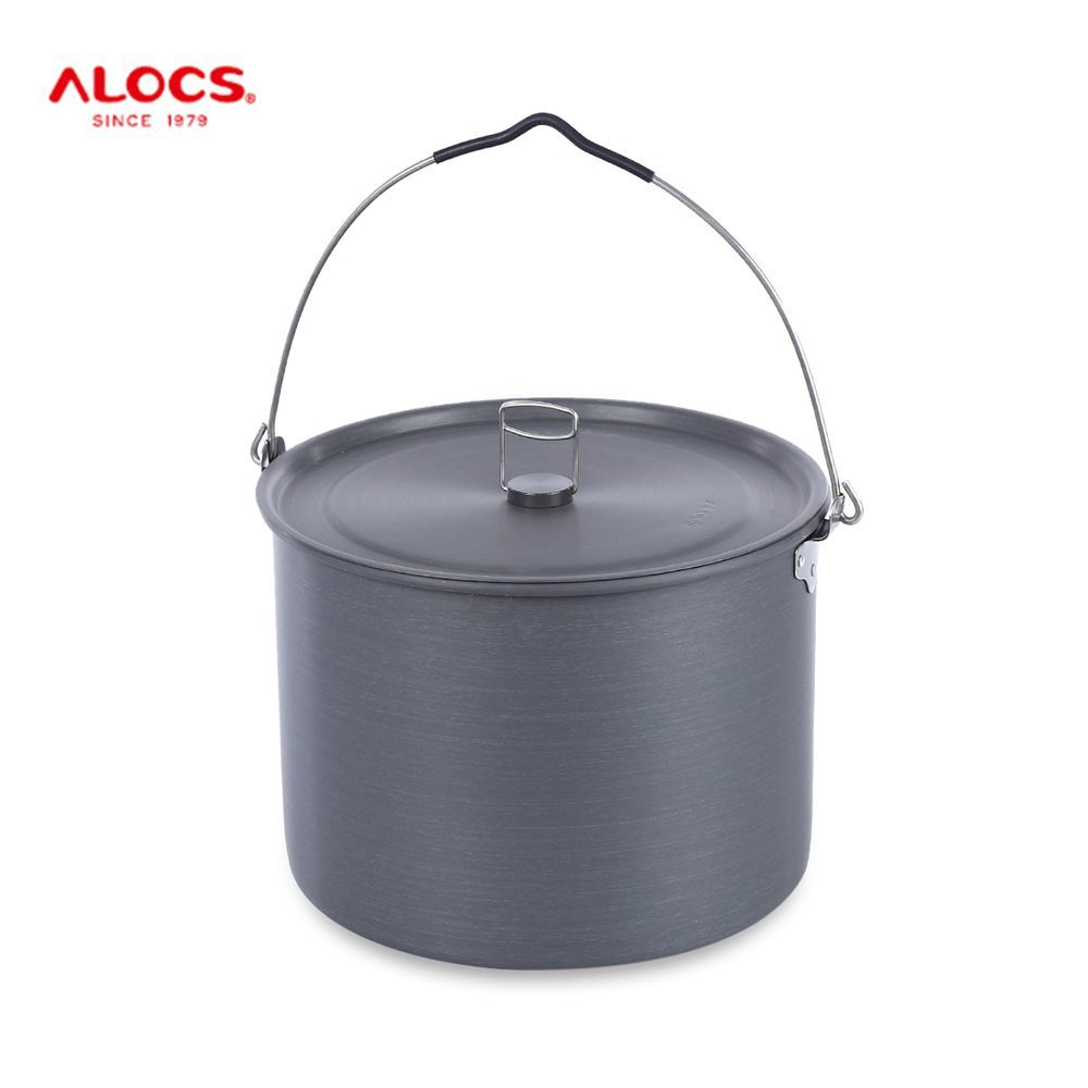 ALOCS Camping Stainless Steel Hung Pot with Folding Handle 5 - 7 persons kettle for outdoor travel picnic BBQ CW-RT02 10.5L outdoor rt 502 camping stainless steel folding bowl silver