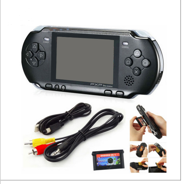 3 Inch 16 Bit PXP3 Slim Station Video Games Player Handheld Game +2pcs Game Card Console built-in 999999 Classic Games New 2016 image