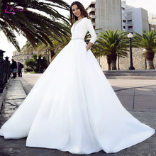 Waulizane Elegant Satin  A-Line Wedding Dresses Deep V-Neckline With Cap Sleeves Three Quarter Gown