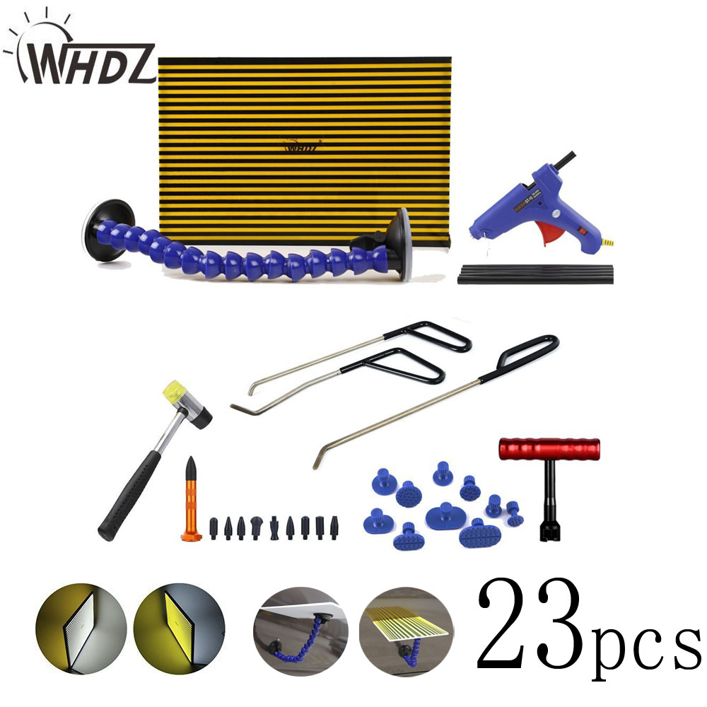 23 pcs Paintless Dent Repair Tool Kit - PDR LED Light borde PDR Strip Line Board with PDR Ding Dent Repair Rod цена
