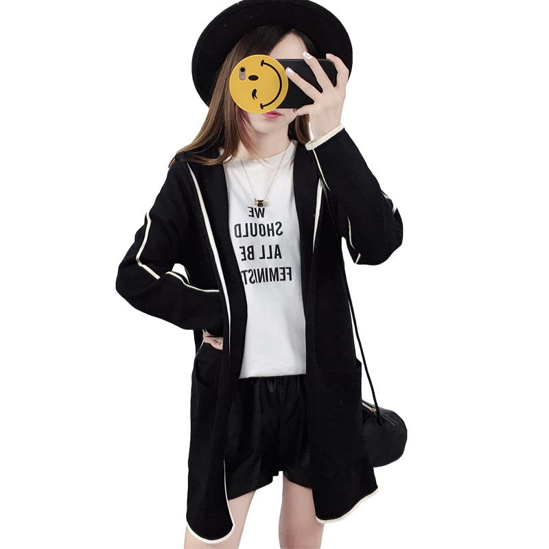 2017 New Autumn Hooded Cardigans Girls Slim Sweater Open Front Women Coat Sueter Mujer Long Sleeve Knitted Cardigan Female XH979