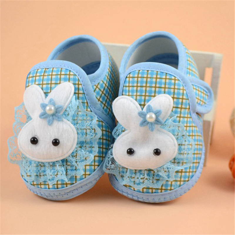 2018 Newborn Boy Girl Blue Soft Sole Crib Toddler Shoes Canvas Sneaker Bunny Magic Sticky 1204
