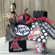 YaMinSanNiO 1Pc/Lot 14*14cm 2018 New Clear Stamps Cutting Dies Card Album Round Boo to You Rubber Decorative Stamp Phrase