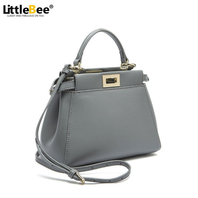 2016 Women Messenger Bags Peekaboo Bag Handbags High Quality Genuine Leather Totes Fashion Shoulder Crossbody Bag Small Tote Bag