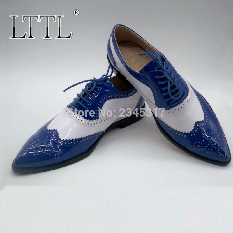 new fashion mens pointed toe dress shoes blue and white