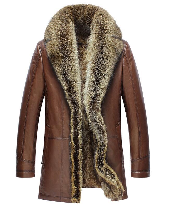 Nouveau manteau d'hiver en peau de vache pour homme, véritable col en fourrure de raton laveur, veste d'hiver en cuir véritable pour hommes, doublure en fourrure de raton laveur complète, vestes en cuir