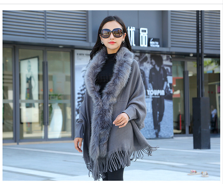 Faux Fur Collar Shawl Cardigan Tassel Winter Warm Coat 38