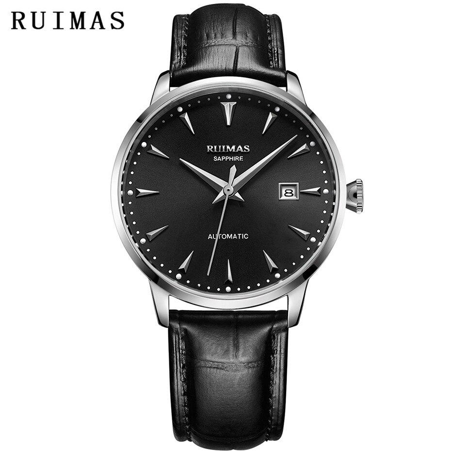 94cc163cbaf RUIMAS MIYOTA 8215 Homens de Negócios Mecânica Relógio com Pulseira de Couro  Relógios de Pulso Simples