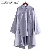 TWOTWINSTYLE 2017 Striped Summer Women S Long Blouses Shirt Long Sleeve Split Tops Asymmetry Big Pocket
