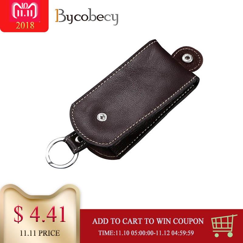 BYCOBECY Genuine Leather Smart Key Holder Car Key Wallet Organizer Car Key Housekeeper Bag Covers Hasp Key Case все цены