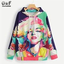 b2dc7edc6 Dotfashion Drawstring Abstract Figure Print Hooded Sweatshirt Women Casual  2019 Autumn Long Sleeve Clothing Pullovers Sweatshirt