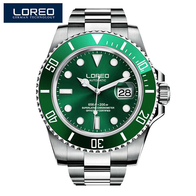 2019 New 20bar Diving Watch Automatic Luxury brand LOREO Sapphire Mechanical Watch Men Calendar Luminous Water Ghost Green Watch