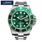 2019 nuevo reloj de buceo 20bar de marca de lujo automático reloj mecánico LOREO zafiro Calendario para hombres reloj verde luminoso agua fantasma
