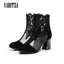 YARITZA 2017 New Summer Women Boots Embroider Shoes Ankle Boots Women High Quality Leather Mesh Air Boots High Heel Women's Boot
