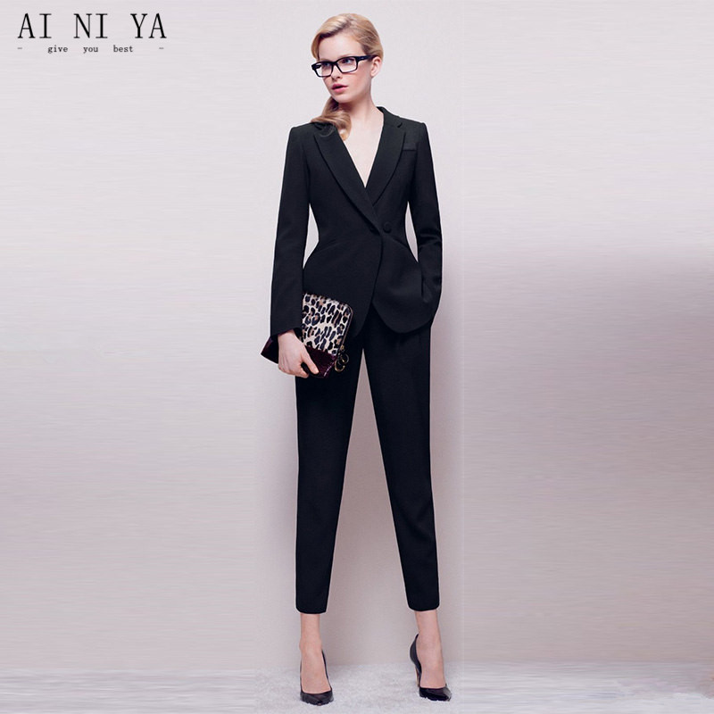 Jacket+Pants Womens Business Suit Black Long Sleeves Female Office Uniform Ladies Formal Trouser 2 Piece Sets Double Breasted