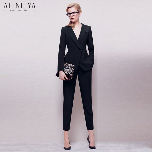 Jacket+Pants Womens Business Suit Black Long Sleeves Female Office Uniform  Ladies Formal Trouser 2 Piece Sets Double Breasted c6d89ab8747a