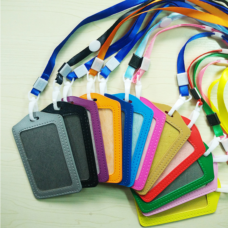 Bussiness Card Holder Hanging ID Cards Case PU Leather Neck Strap Identity Badge With Lanyard Bank Credit Card Holders #105 New