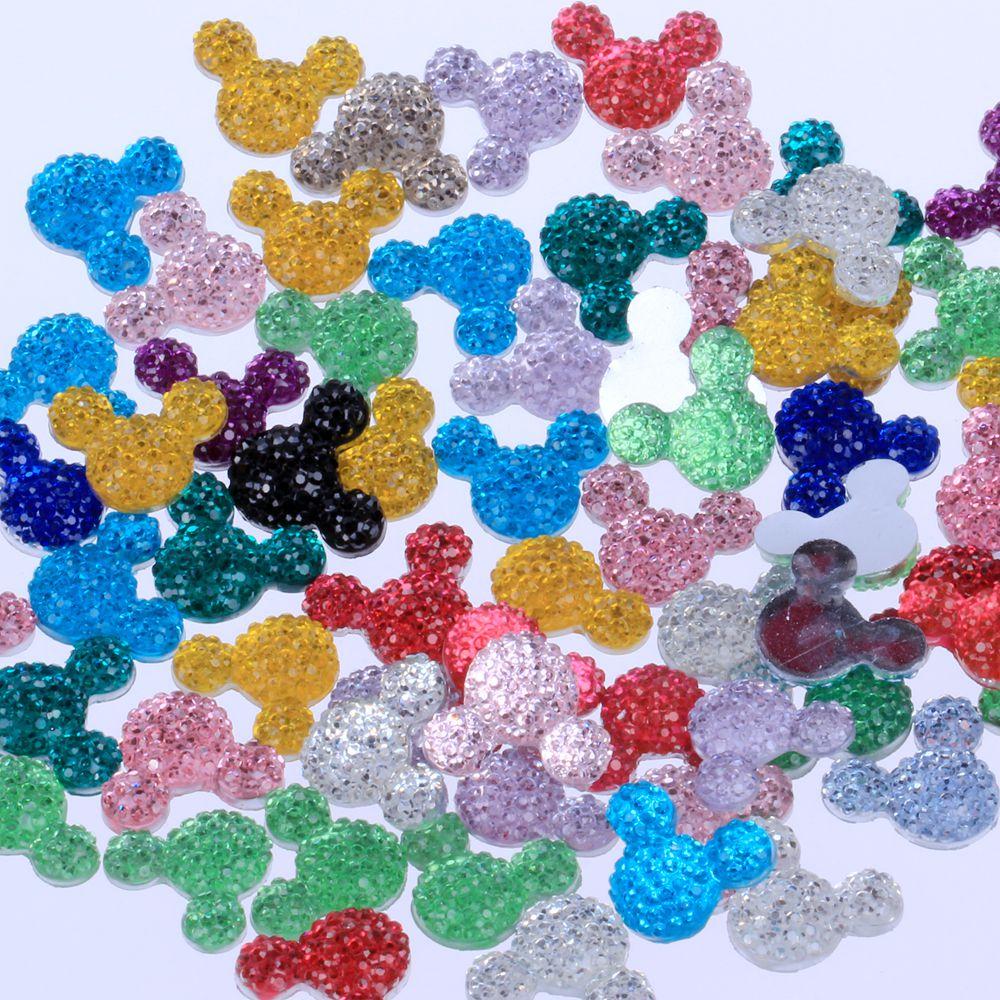 Crafts Decorations Rhinestones Mickey-Head Flatback Many-Colors Small Resin for DIY Nail-Art
