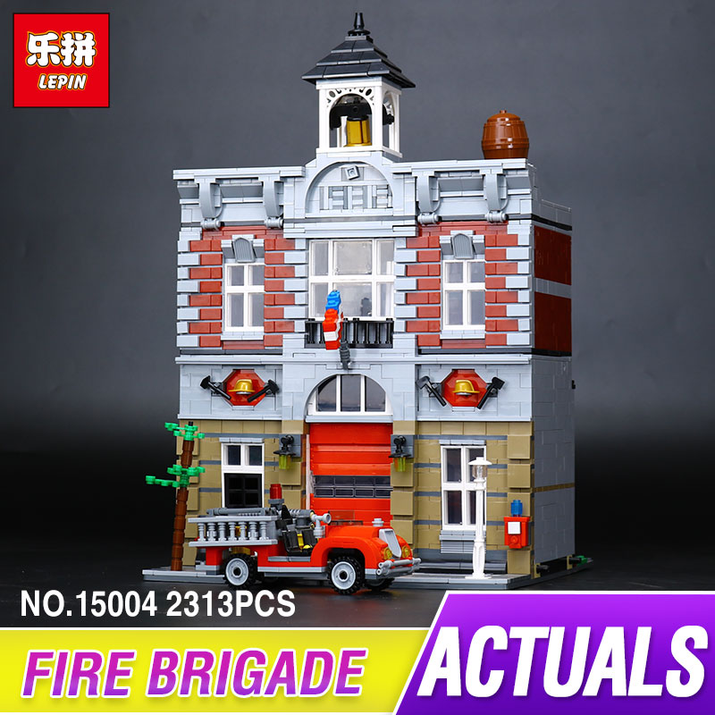 LEPIN 15004 2313Pcs City Street Fire Brigade Model Building Kits Blocks Bricks Compatible 10197 Brick for children gift pair of elegant faux gem triangle drop earrings for women