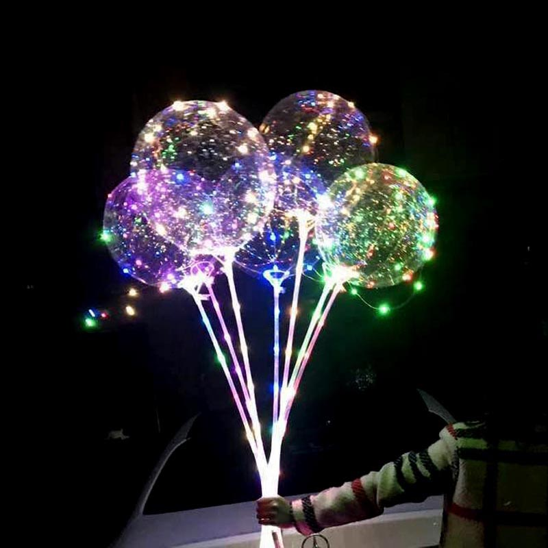 18 Inch Luminous LED Balloon With Stick Transparent Valentine Day Wedding Party Decoration Balloons