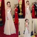 Miley Cyrus Oscar 2010 de luxo Nude cor querida frisada Tulle Celebrity Dress mulheres vestido frete grátis