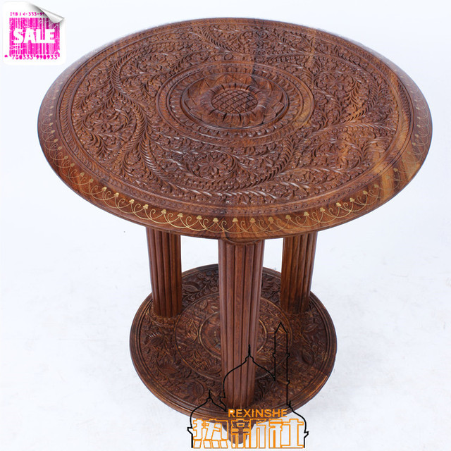 Pakistan Imported Wood Carvings Three Leg Table Antique Wood Pure Hand  Carved Round Coffee Table