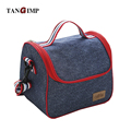 TANGIMP Lunch Box Denim Dark Blue Portable Insulated Thermal Cooler Food Storage Containers Carry Bag Travel Picnic Handbags