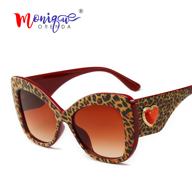 Sunglasses Women Leopard-Frame Heart Cat-Eye Retro Vintage Brand Designer Charm For Shades