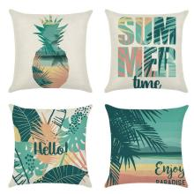Tropical Plant Green Leaf Rainforest Print Summer Theme Pillow Case Soft Cover Flax