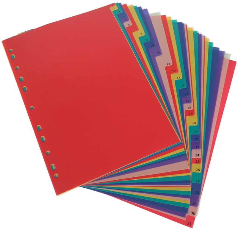 A4  31Pages Colored PP Binder Index Divider 11Holes Archives Files Color Index Binder Office Supplies kitave11992unv10200 value kit avery index maker clear label contemporary color dividers ave11992 and universal small binder clips unv10200