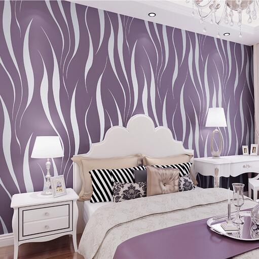 Fashion Embossed Flocking 3D Striped Wallpaper For Walls Non-Woven Purple Beige Home Background Wall paper Roll W341
