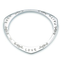 HERMOSA Jewelry Engraving Faith Hope Love Stamp 925 Silver Wholesale BANGLE CUFF ZY000002