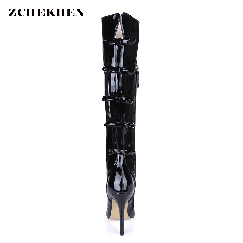 Plus Size 35-43 Women Boots Patent Leather Over the Knee Boots for Women Black Red Sexy High Heels Long Dancing Boots plus size patent leather over the knee boots for women black women winter boots sexy high heels long boots ladies platform shoes