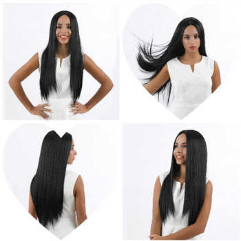 FAVE Long Silk Straight Natural Black Synthetic Wigs For Black White Women Heat Resistant Fiber Middle Part Fashion Hair Wig