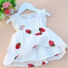 Платье для маленьких девочек От 0 до 2 лет Одежда для новорожденных Детское летнее Хлопковое платье с вышитыми цветами и ягодами клубники для малышей в возрасте 1 года платье на день рождения, одежда для малышей