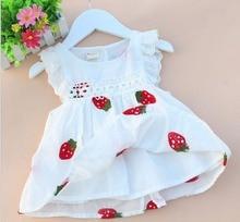 Для маленьких девочек платье От 1 до 3 лет летний для новорожденных вышивка с принтом клубника, одежда хлопковое платье для малышей в возраст...