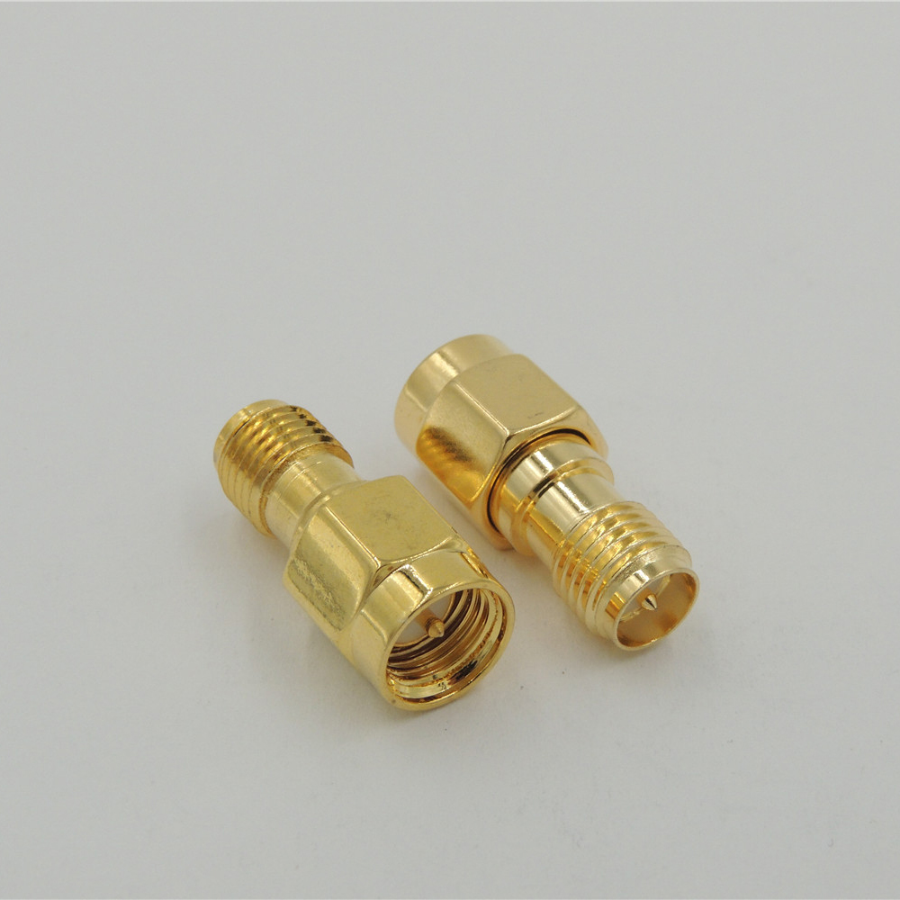 100 pcs Gold plate SMA male Jack to RP SMA female coaxial cable connector converter adapter