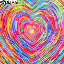 DiaPai Diamond Painting 5D DIY 100% Full Square/Round Drill Color heart Embroidery Cross Stitch 3D Decor A16773