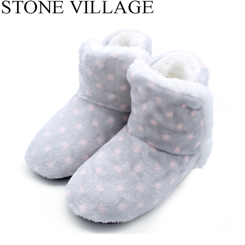 STONE VILLAGE Free Size Polka Dot Plush Home Slippers Indoor Shoes Women Winter Slippers Women 1