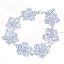 GIFT New Womens Fashion Sliver Chic Hollow Flower Chain Bracelet Jewelry