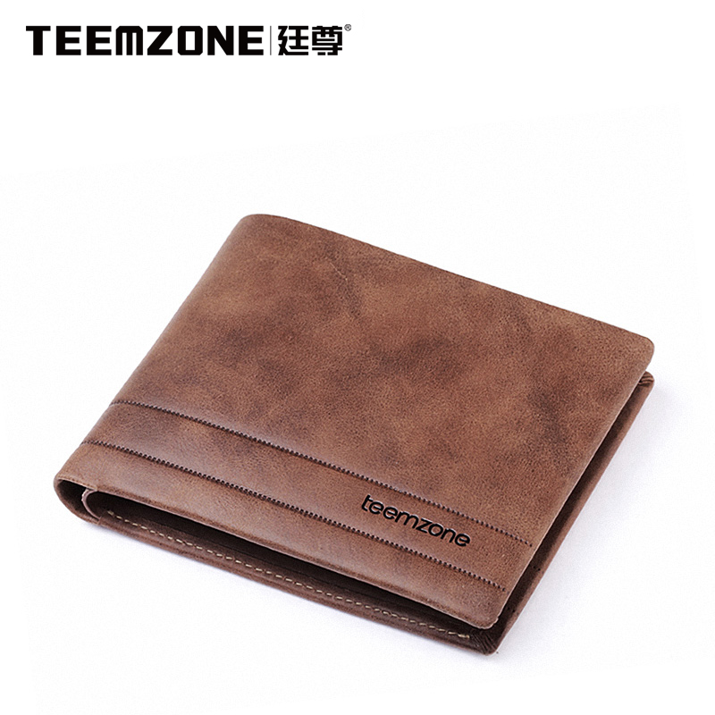 Teemzone Brand Men Wallet Genuine Leather Cowhide Purse Large Capacity Credit Card Wallet Mens Wallet Free Shipping