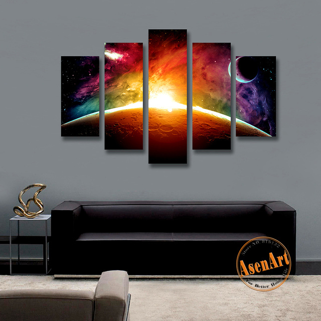 Us 52 0 5 Panel Wall Picture Sunrise Universe Stars Painting Modern Canvas Prints Painting Wall Paintings For Living Room Unframed In Painting